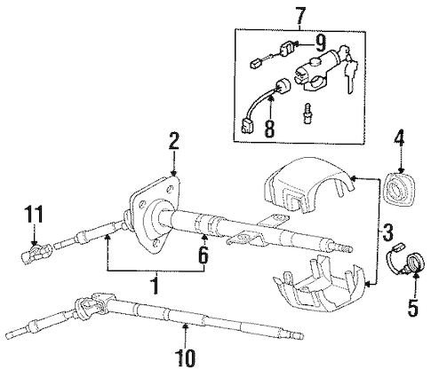 STEERING COLUMN ASSEMBLY for 1996 Nissan 300ZX