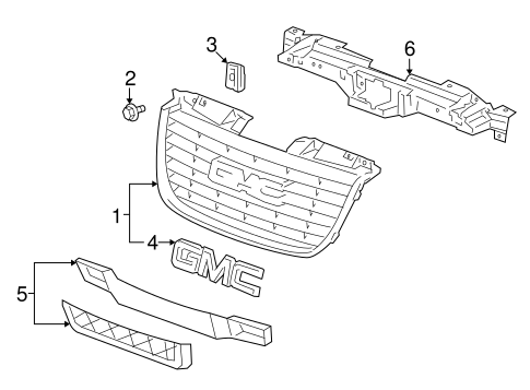 GRILLE & COMPONENTS for 2009 GMC Yukon