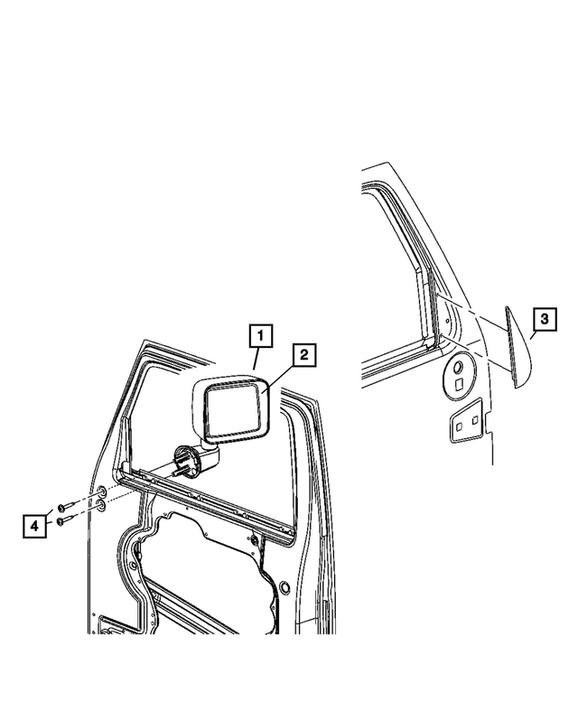2007-2010 Jeep Wrangler Outside Manual Mirror, Left