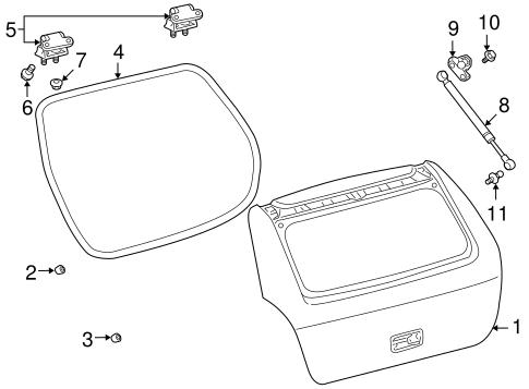 OEM 2009 Pontiac Vibe Gate & Hardware Parts