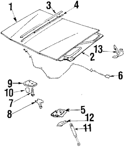 HOOD & COMPONENTS for 1996 Buick Century