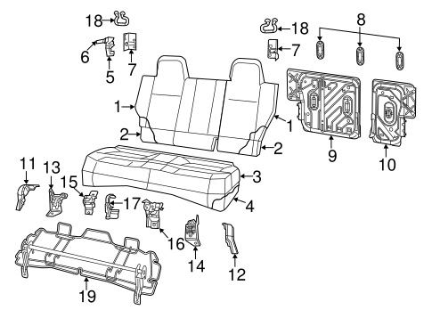 REAR SEAT COMPONENTS for 2014 Jeep Compass