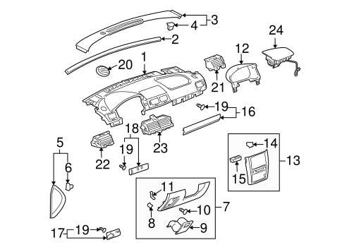 Instrument Panel Components for 2007 Chevrolet Cobalt