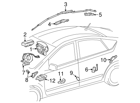 Genuine OEM Air Bag Components Parts for 2007 Toyota Prius