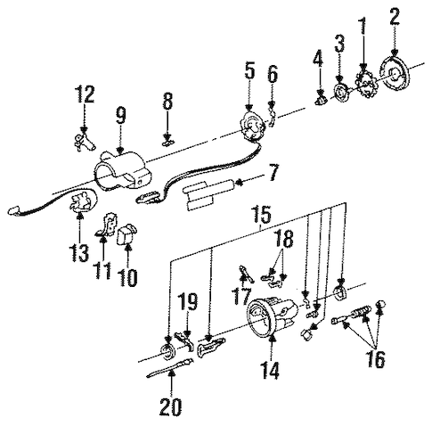 STEERING COLUMN ASSEMBLY Parts for 1987 Buick Electra