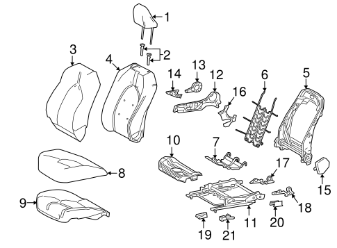 Genuine OEM Passenger Seat Components Parts for 2019