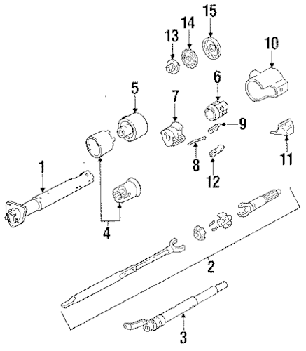 OEM 1993 GMC Sonoma Steering Column Assembly Parts