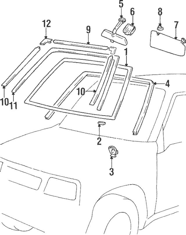 1989-1997 Suzuki Sidekick Visor Holder 8485160B005ES