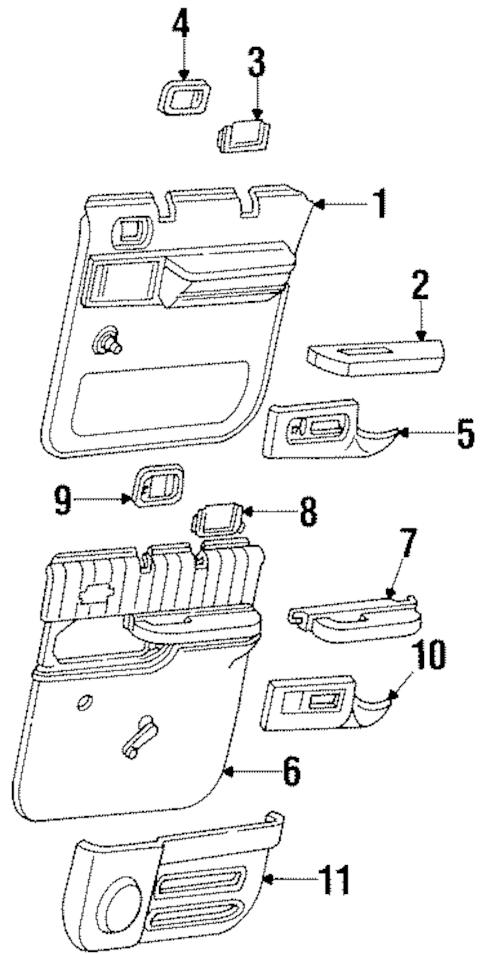 OEM 1998 GMC Suburban K1500 Rear Side Door Parts