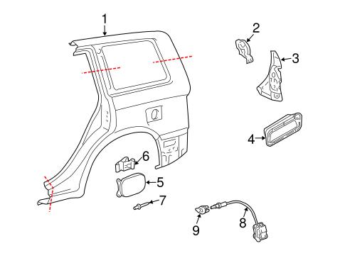 Genuine OEM Fuel Door Parts for 2006 Toyota Highlander