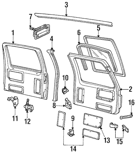 DOOR & COMPONENTS for 2000 GMC Yukon