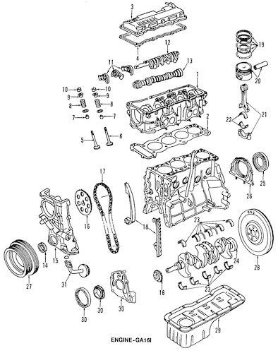 ENGINE PARTS for 1989 Nissan Pulsar NX