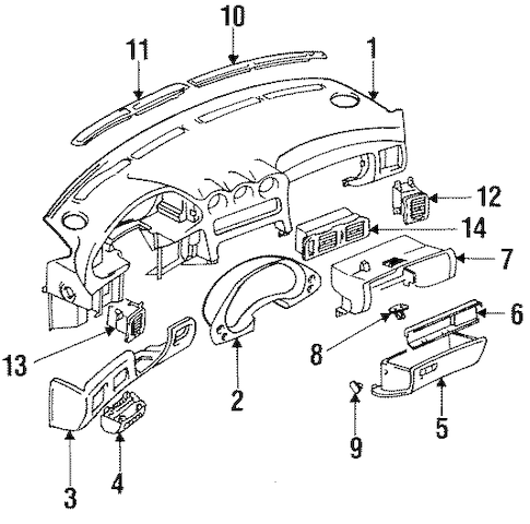 INSTRUMENT PANEL for 1992 Mitsubishi 3000GT