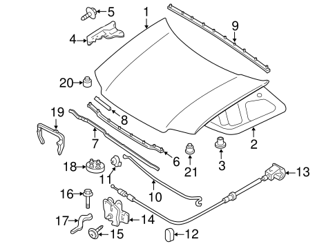 HOOD & COMPONENTS for 2010 Mercury Mariner