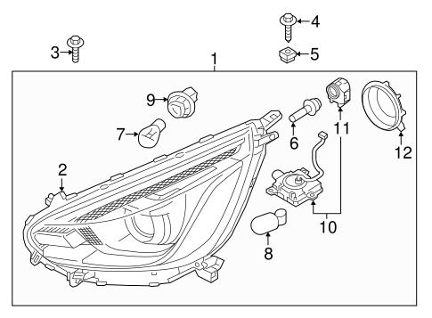 Headlamp Components for 2018 Mitsubishi Mirage