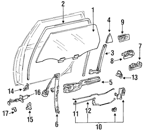 Genuine OEM Rear Door Parts for 1995 Toyota Camry LE