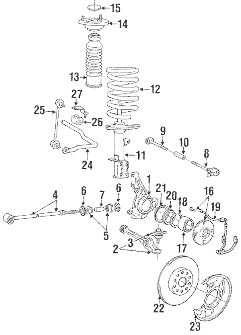 Genuine OEM Rear Suspension Parts for 1991 Toyota MR2