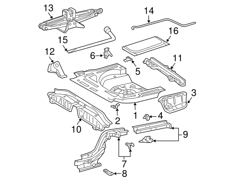 Genuine OEM Rear Floor & Rails Parts for 2008 Toyota