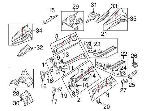 Structural Components & Rails for 2006 Subaru B9 Tribeca