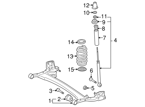 Genuine OEM Rear Suspension Parts for 2007 Toyota Yaris