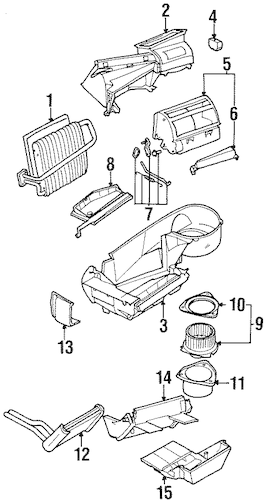 OEM 1996 Saturn SC2 Condenser, Compressor & Lines Parts