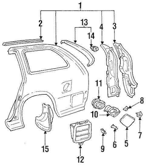Genuine OEM QUARTER PANEL & COMPONENTS Parts for 1996