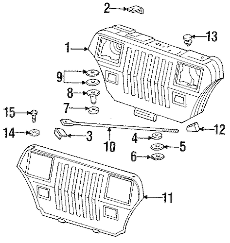 Grille & Components for 1991 Jeep Wrangler Parts