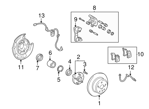Genuine OEM Rear Brakes Parts for 2005 Toyota Highlander