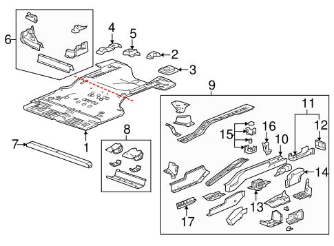 REAR FLOOR & RAILS Parts for 2012 Cadillac SRX