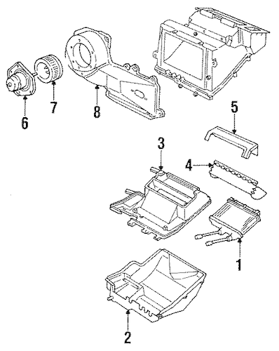 HEATER COMPONENTS for 1998 Oldsmobile Achieva