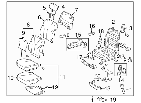 Passenger Seat Components for 2009 Toyota Camry
