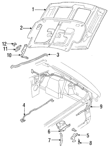 Hood & Components for 1998 Ford Mustang