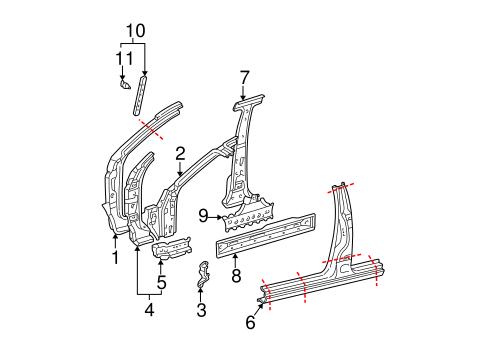 Genuine OEM Hinge Pillar Parts for 2006 Toyota Sequoia