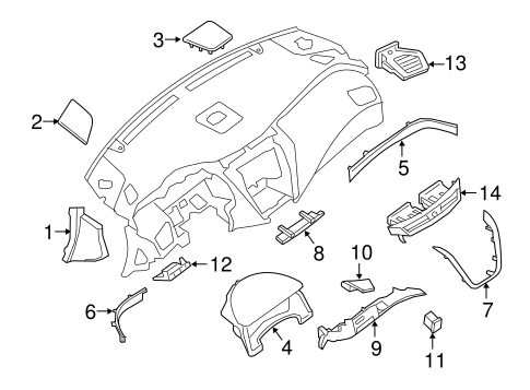 INSTRUMENT PANEL COMPONENTS for 2015 Nissan Murano