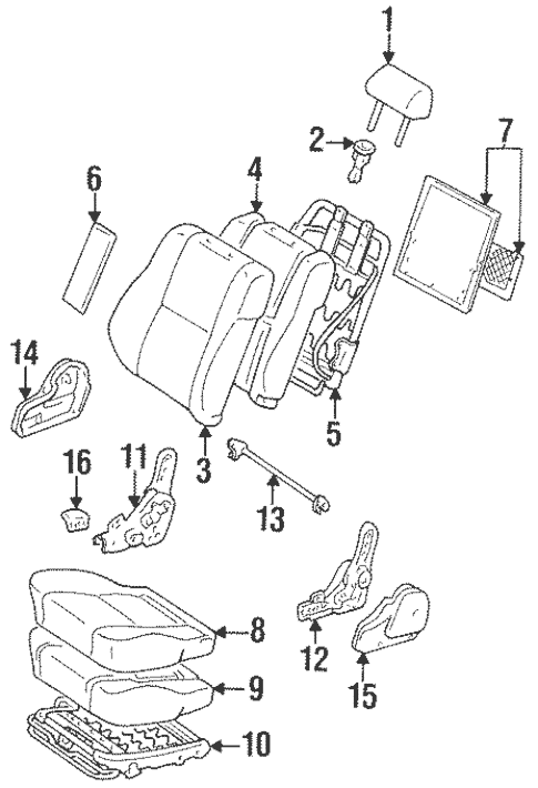 Genuine OEM Seat Components Parts for 1997 Toyota Land