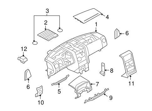Instrument Panel Components for 2009 Ford Explorer Sport