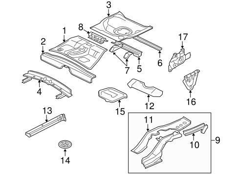 Rear Floor & Rails for 2013 Mitsubishi Lancer Evolution