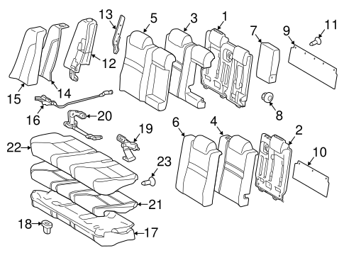 Genuine OEM Rear Seat Components Parts for 2015 Toyota