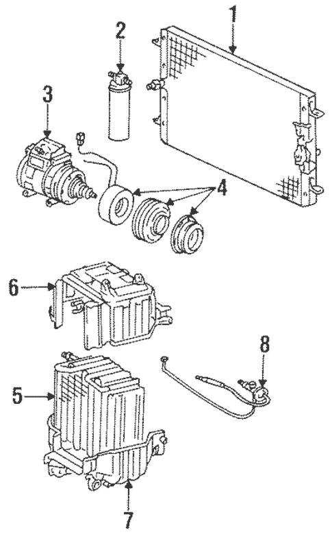 Genuine OEM Condenser, Compressor & Lines Parts for 1988