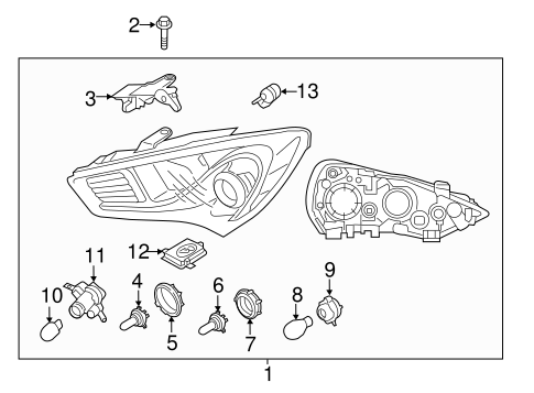 Headlamp Components for 2013 Hyundai Genesis Coupe