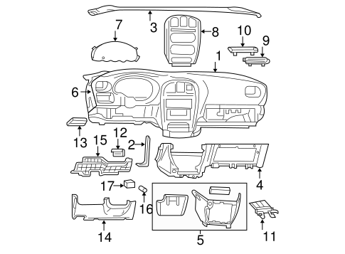 Instrument Panel Components for 2003 Dodge Grand Caravan