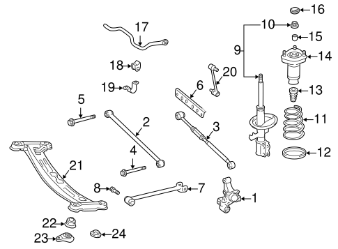 Genuine OEM Rear Suspension Parts for 1997 Toyota Camry LE