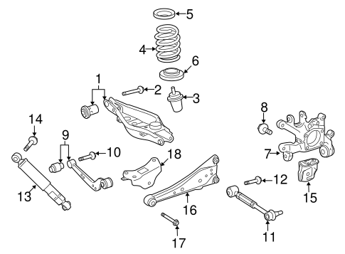 Genuine OEM Rear Suspension Parts for 2016 Toyota RAV4 XLE