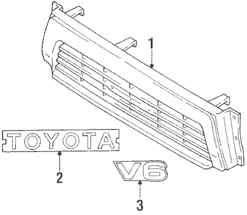 Genuine OEM Grille & Components Parts for 1990 Toyota