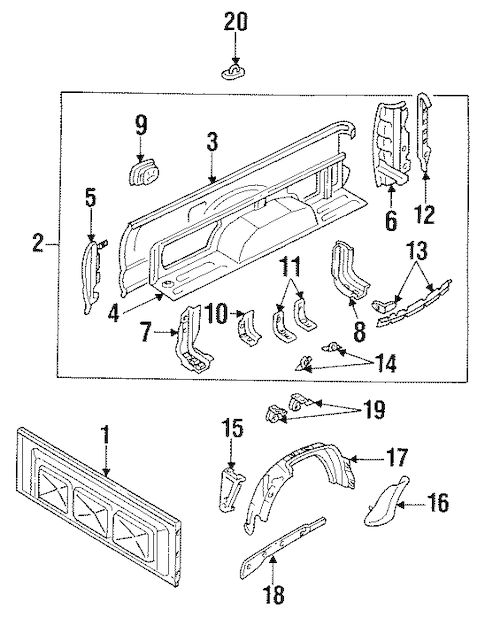 Genuine OEM Pick UP Box Parts for 1992 Toyota Pickup Base