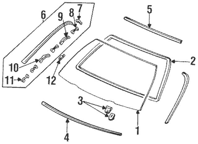 1994-1997 Honda Molding Assembly, L Front Windshield Side