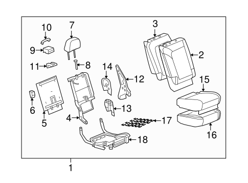 OEM REAR SEAT COMPONENTS for 2008 Saturn Vue