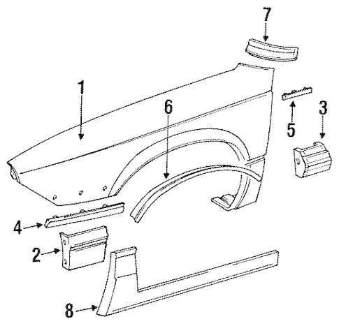 OEM 1991 Buick Regal Fender & Components Parts
