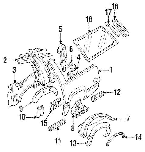 QUARTER PANEL & COMPONENTS for 1993 Chevrolet Suburban C1500