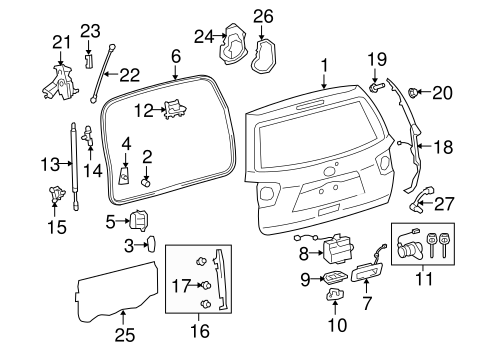 Genuine OEM Liftgate Parts for 2008 Toyota Sequoia